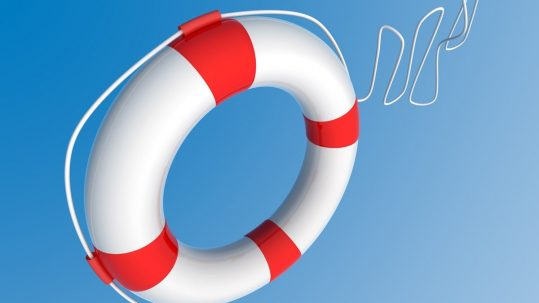 White Life Buoy Chain on Isolated blue Background.