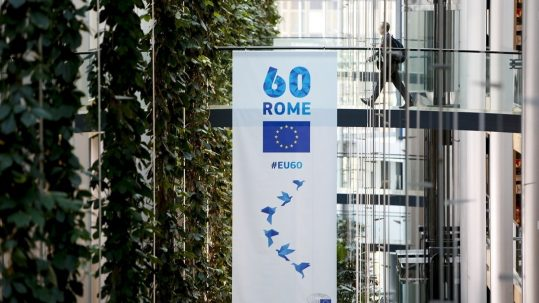Banner for the 60th anniversary of the European Parliament in Strasbourg