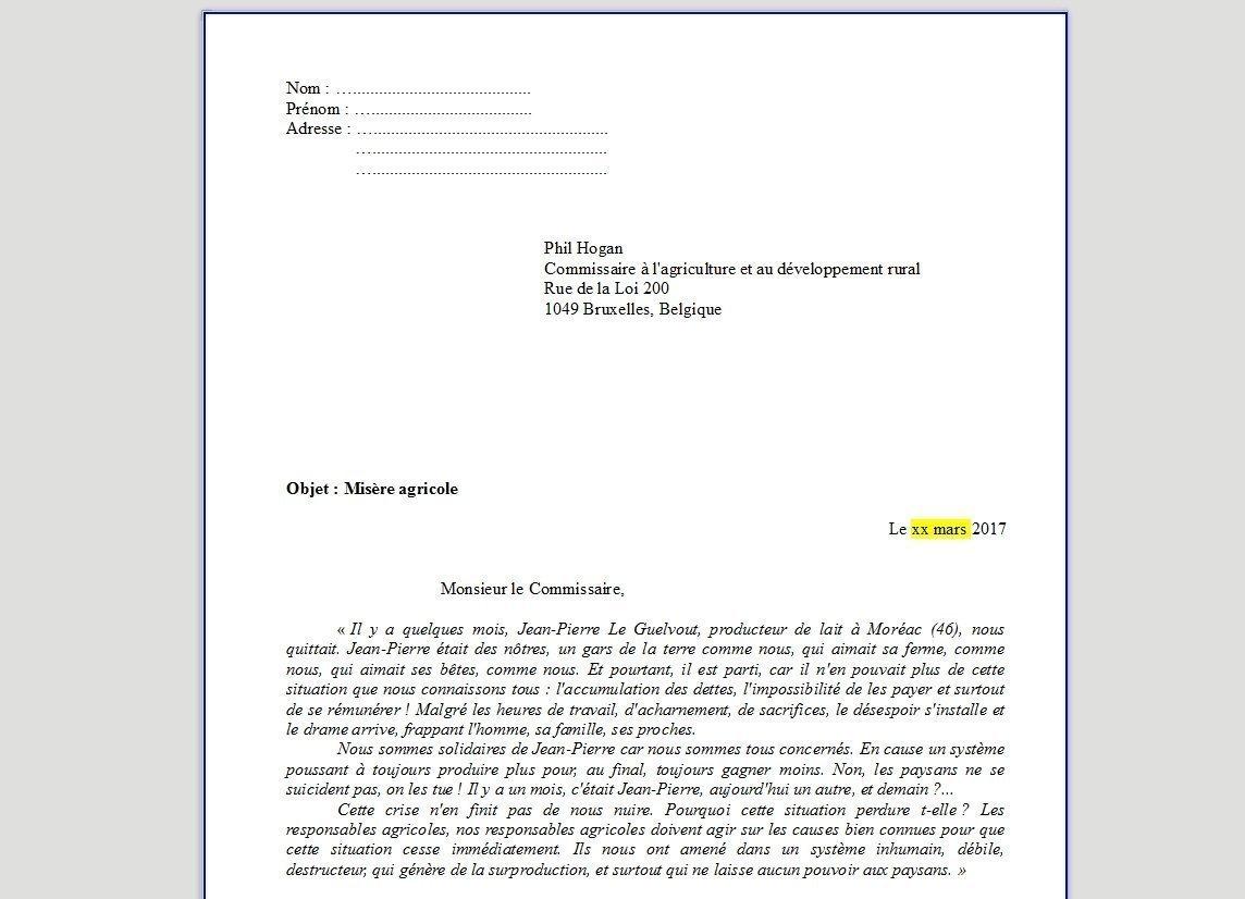 détaillant 68bda 195bd Misère agricole : courrier à Phil Hogan - Coordination ...