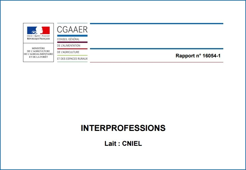 CGAAER rapport interprofessions / lait