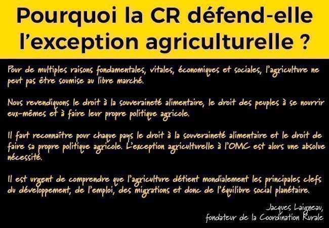Pourquoi la CR défend l'exception agriculturelle