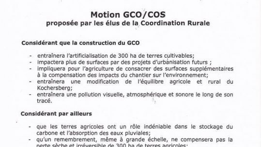 Motion CR contre le GCO