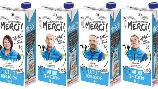 """Intermarché lance le lait """"Les éleveurs vous disent merci"""" ©LesÉchos"""