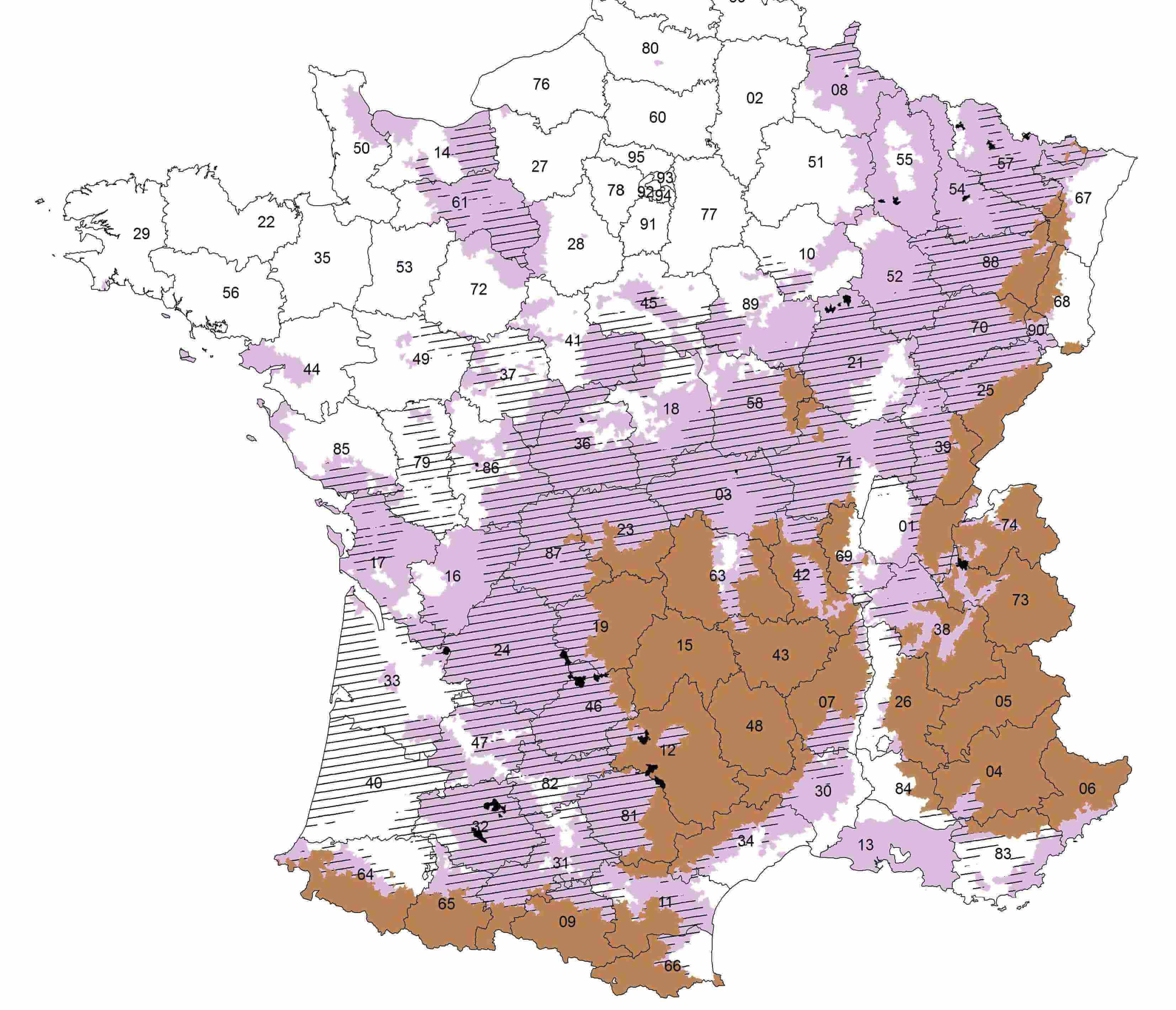 Zones d favoris es 77 communes rep ch es par la derni re for Zone commune