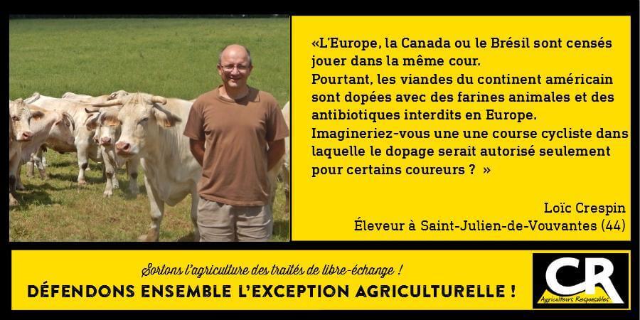 L'agriculture et les accords de libre-échange Citation de Loïc Crespin