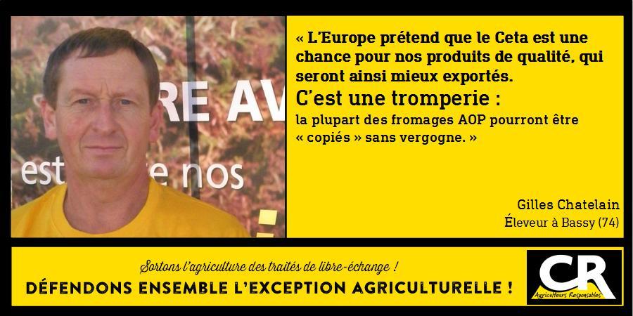 L'agriculture et les accords de libre-échange Citation de Gilles Chatelain