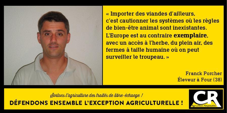 L'agriculture et les accords de libre-échange Citation de Franck Porcher