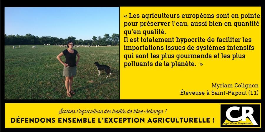 L'agriculture et les accords de libre-échange Citation de Myriam Colignon