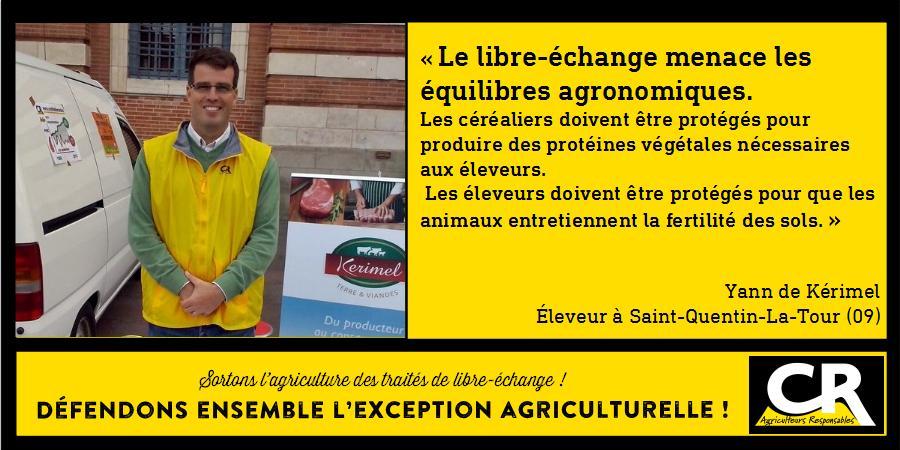 L'agriculture et les accords de libre-échange Citation de Yann de Kérimel