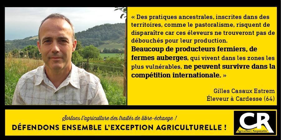 L'agriculture et les accords de libre-échange Citation de Gilles Casaux Estrem