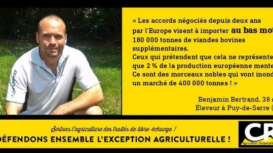 L'agriculture et les accords de libre-échange Citation de Benjamin Bertrand