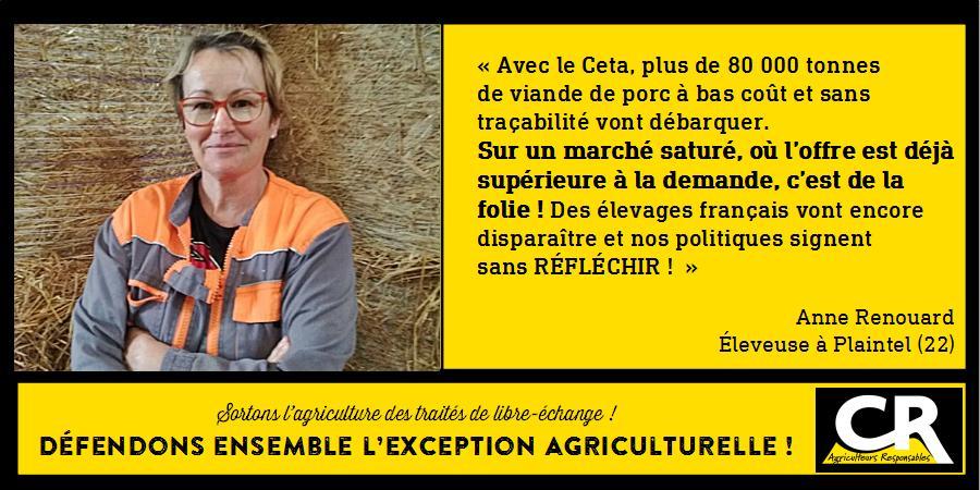 L'agriculture et les accords de libre-échange Citation d'Anne Renouard