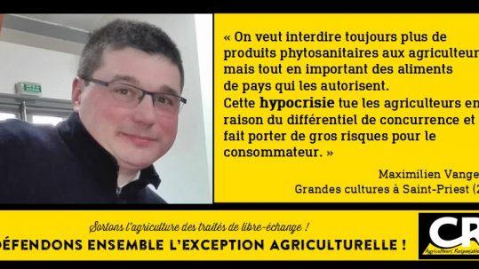 L'agriculture et les accords de libre-échange Citation de Maximilien Vangeon