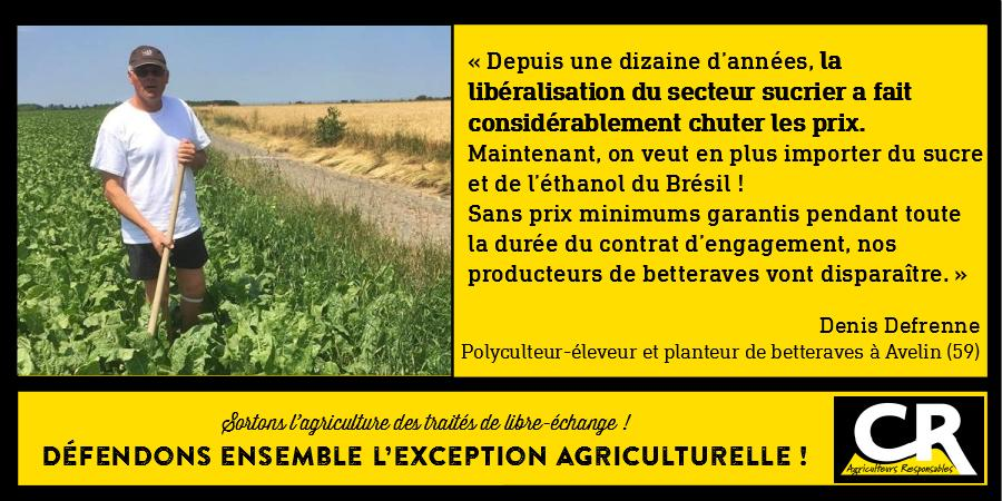 L'agriculture et les accords de libre-échange Citation de Denis Defrenne