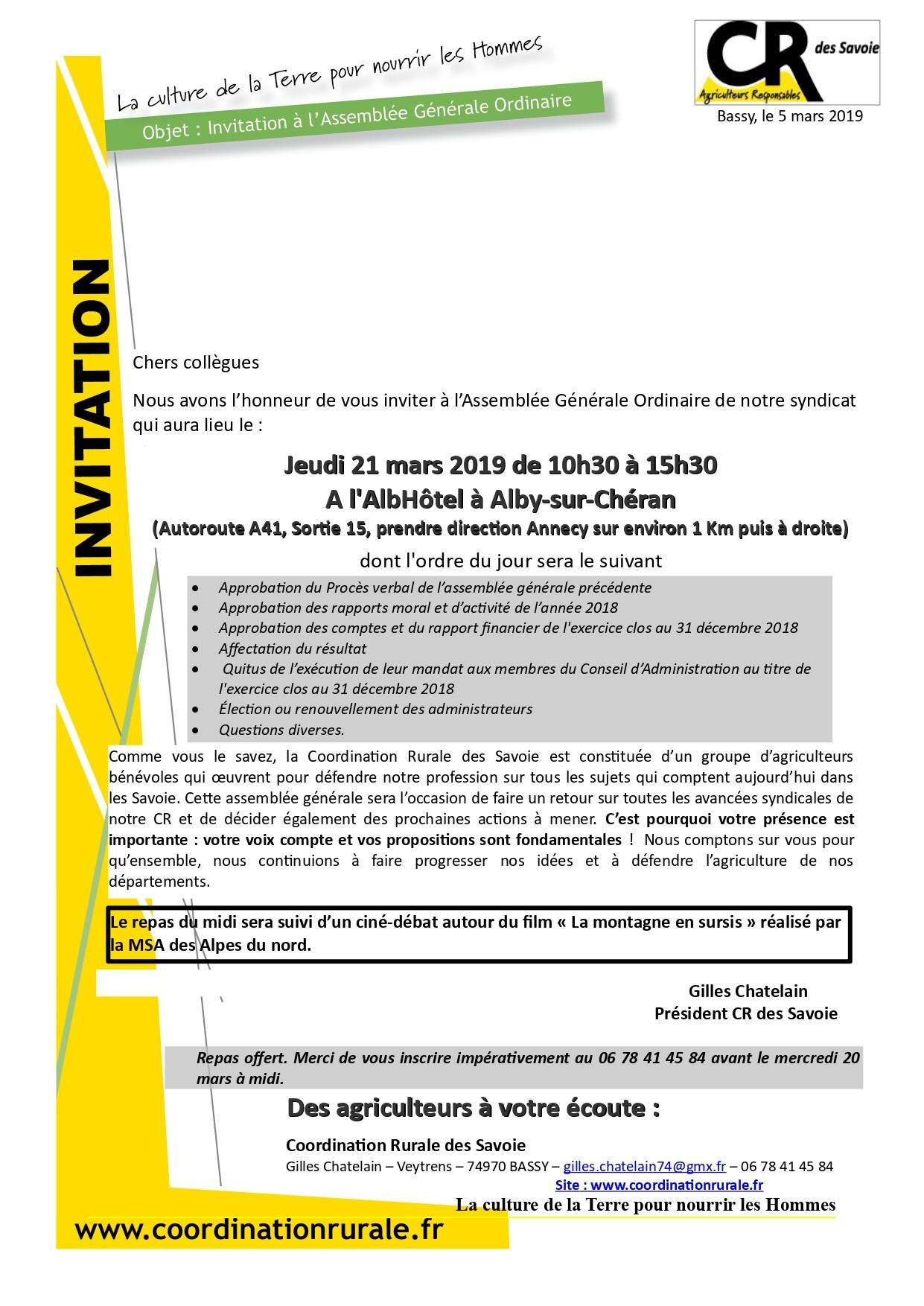Invitation Assemblée Générale CR des Savoie