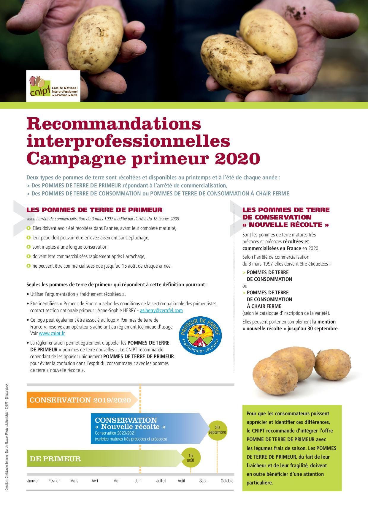 CNIPT_Fiche_Recommandations_Campagne Primeurs 20201 Pommes de terre