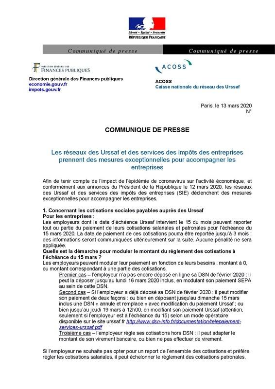 CP-ACOSS DGFIP1 coronavirus mesures Urssaf et impôts p1